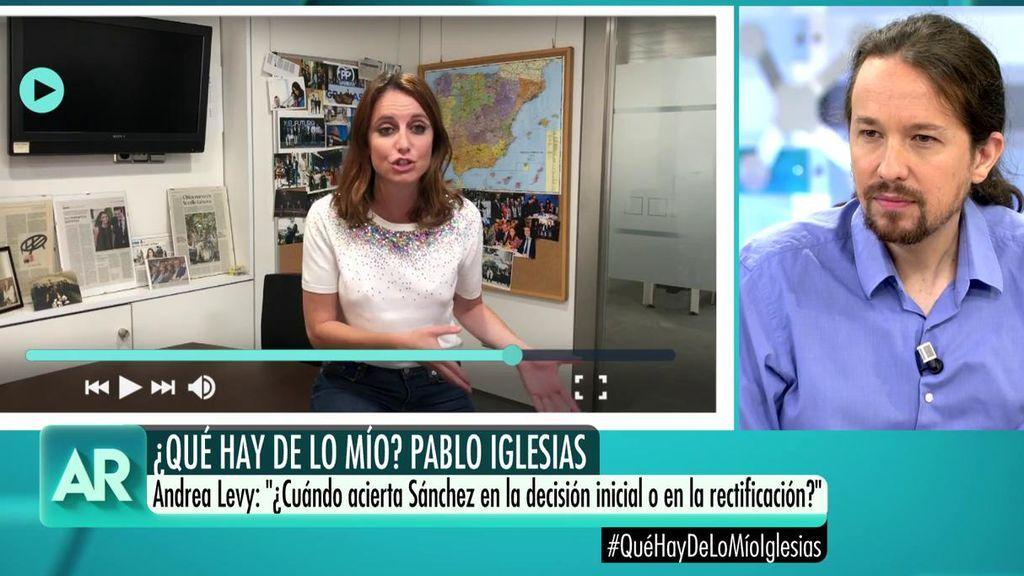 """Andrea Levy  pregunta a Pablo Iglesias: """"¿Cuándo acierta Sánchez en la decisión inicial o en la rectificación?"""""""