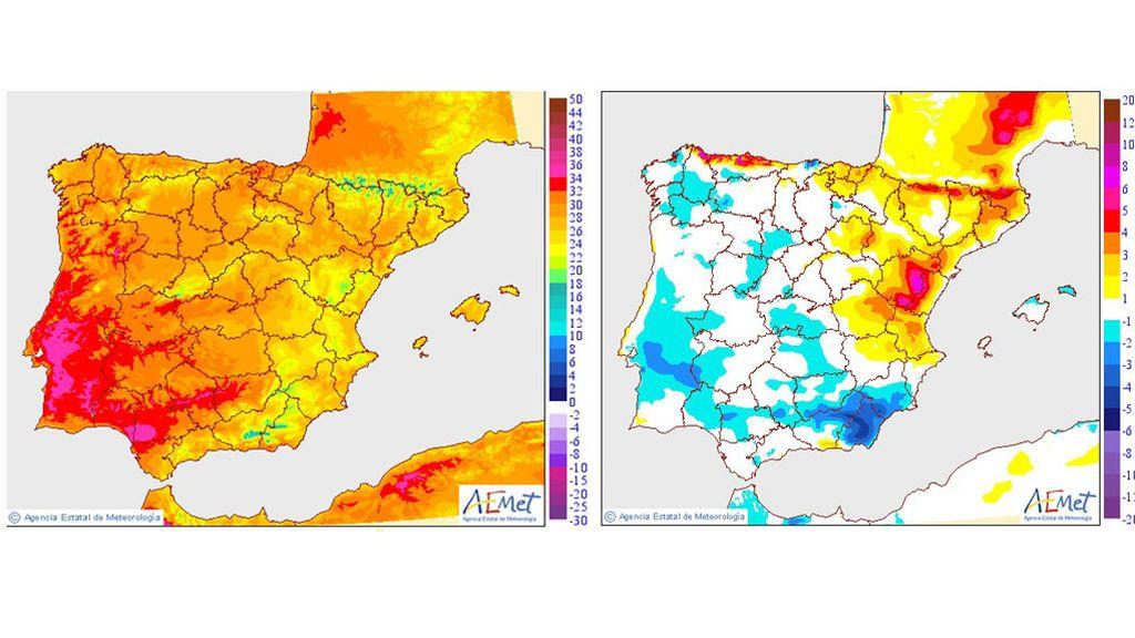 temperaturas y anomalía jueves