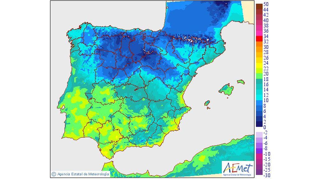 AEMET: temperatura mínima martes