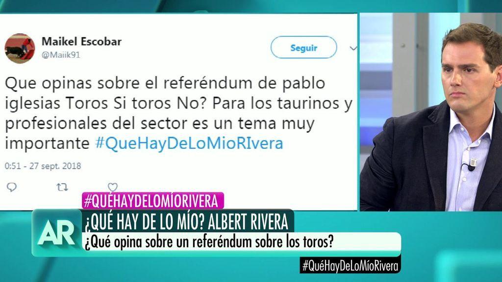 """La pregunta a Albert Rivera desde Twitter: """"¿Qué opina sobre el referéndum sobre los toros?"""""""