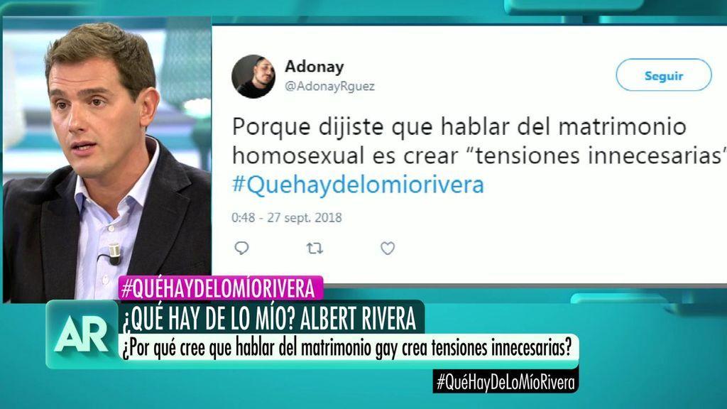 """La pregunta en Twitter a Albert Rivera: ¿Hablar de matrimonio homosexual es crear """"tensiones innecesarias""""?"""