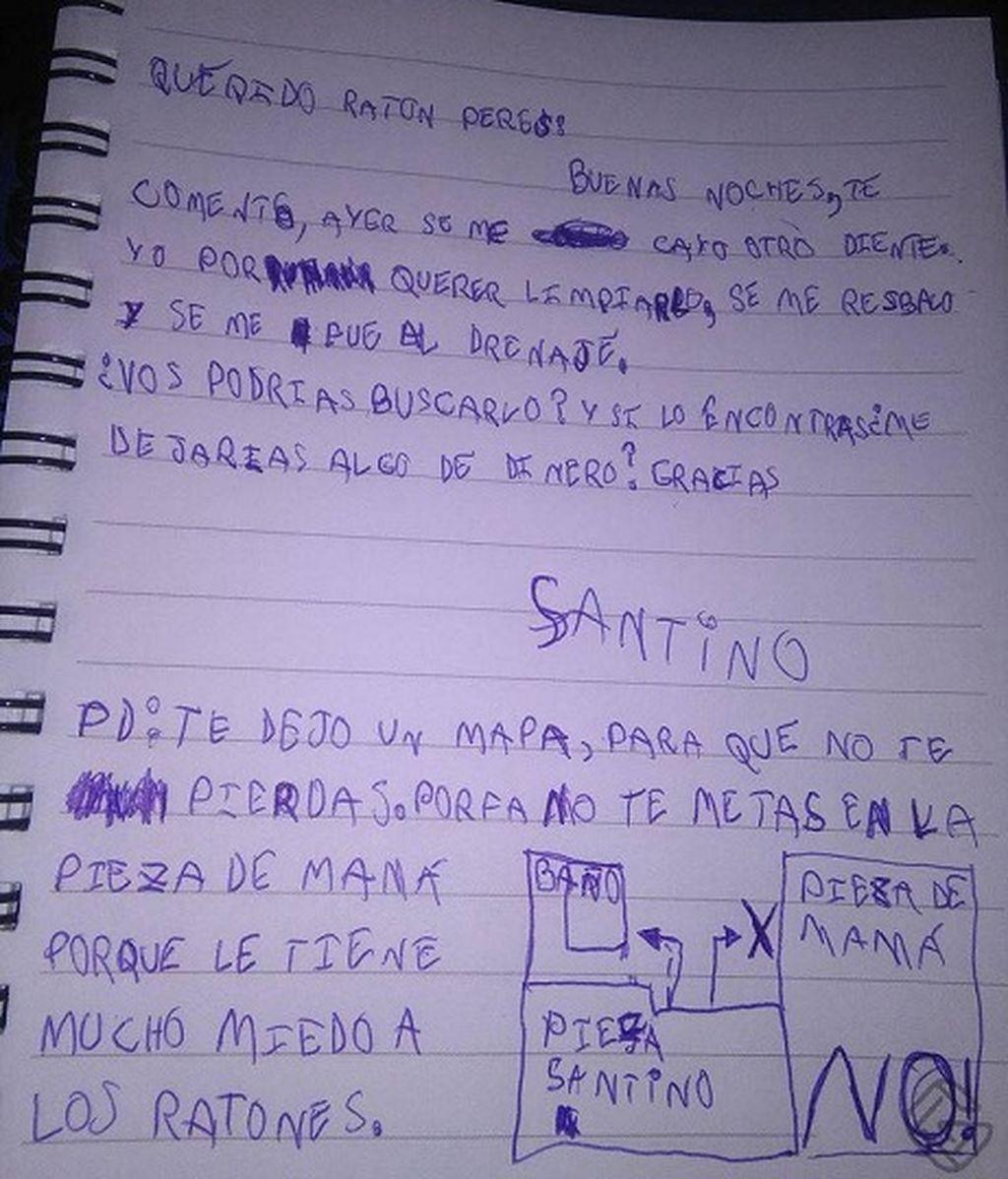 """Carta de un niño al Ratoncito Pérez: """"¿Podrías buscar mi diente y dejarme algo de dinero?"""""""