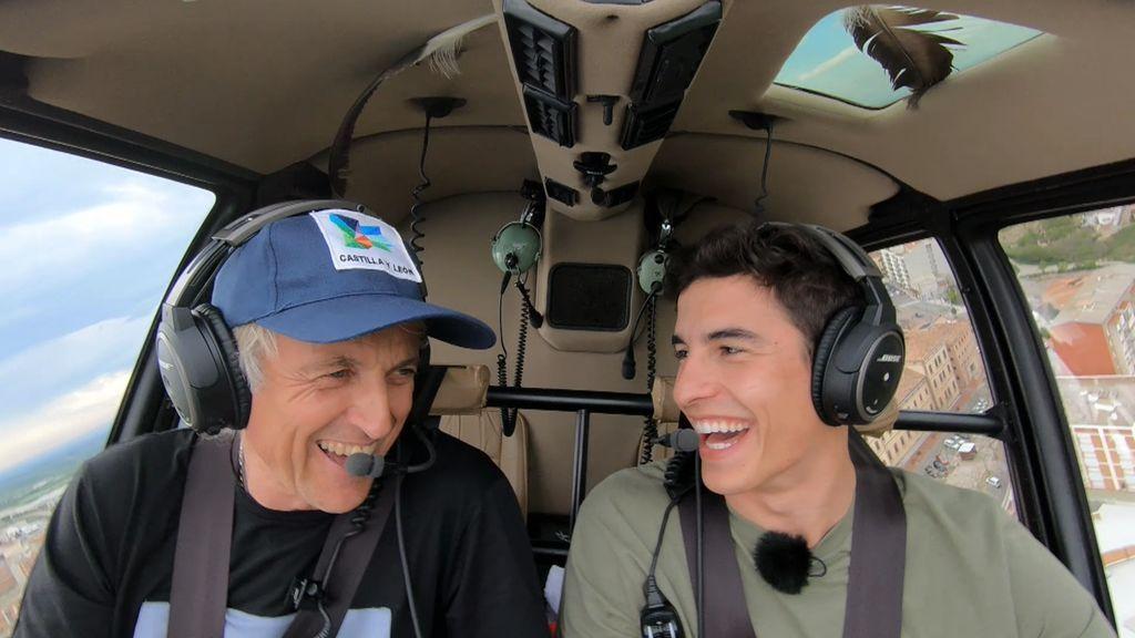 """Marc Márquez """"estropea"""" la sorpresa a Calleja, se sube al helicóptero y habla de amor"""