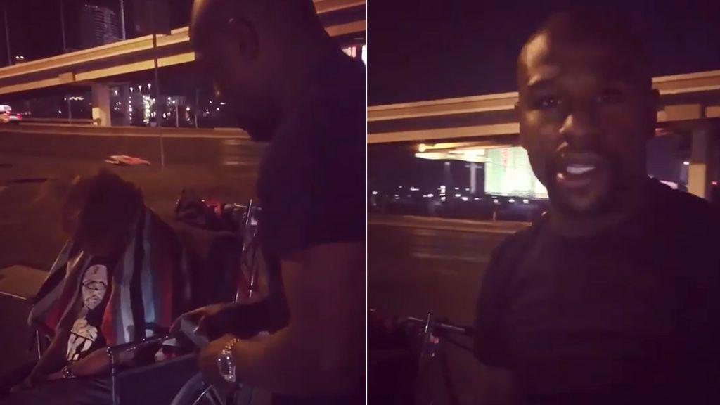 #GiveBackChallenge: Mayweather le da mil dólares a un mendigo en plena calle y pide a las celebrities que le imiten