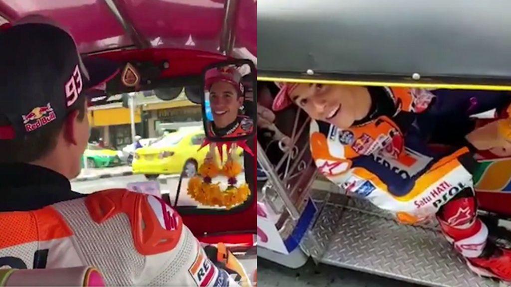 """Márquez la lía conduciendo un 'tuk-tuk' por las calles del centro Bangkok: """"Daleeee"""""""
