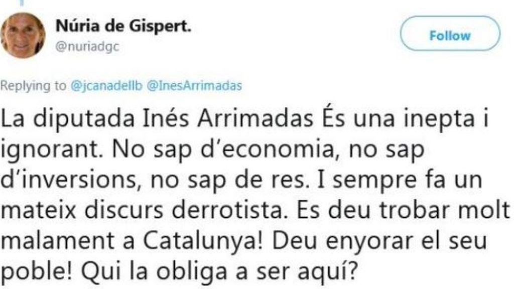 """Nuria de Gispert arremete de nuevo contra Arrimadas: """"Es una inepta y una ignorante"""""""