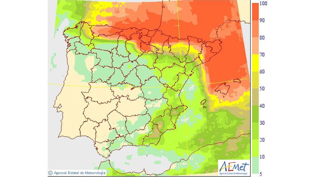 AEMET: mapa probabilidad precipitación