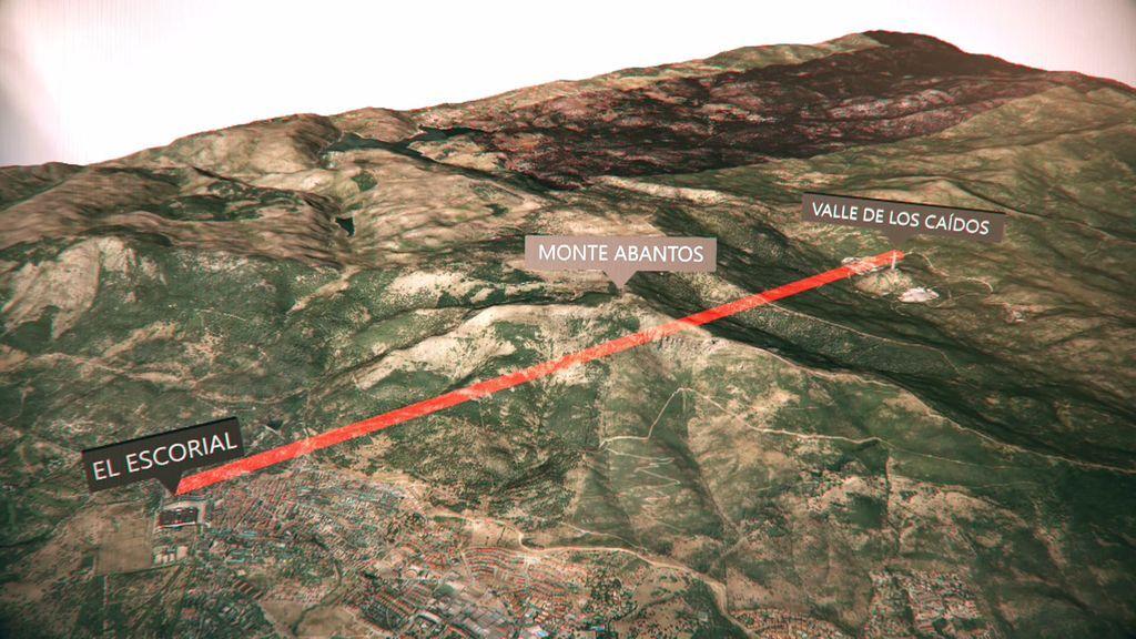 """La línea que une a El Escorial con el Valle de los Caídos, separada por """"un monte mágico"""""""
