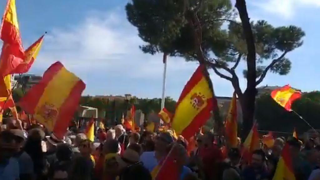 Miles de personas se manifiestan en la plaza colón contra Pedro Sánchez