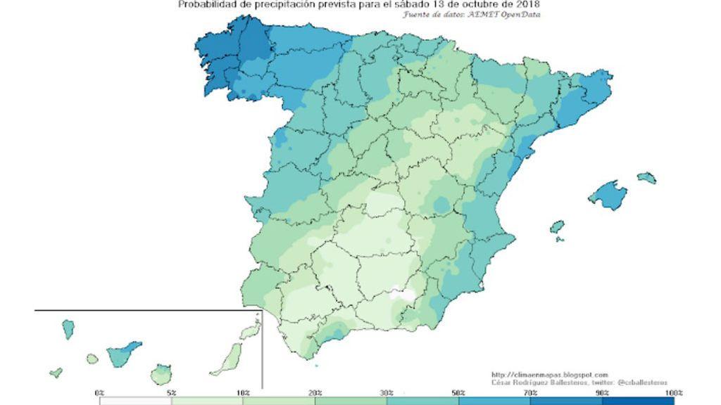 AEMET: probabilidad precipitaciones sábado