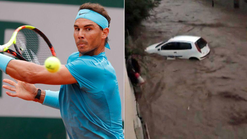 Rafael Nadal ayudó en las labores de limpieza tras inundaciones en Mallorca