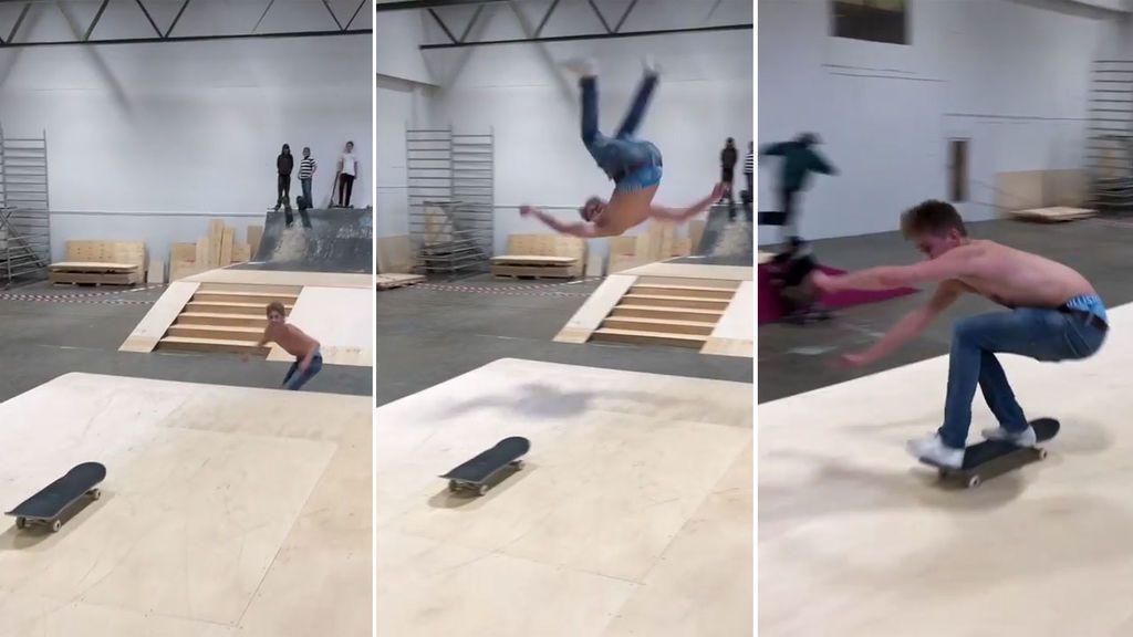 Puede ser el mejor truco de la historia: pasa de un skate a otro tras dar una vuelta en el aire