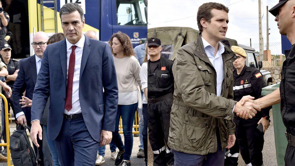 Sánchez y Casado acuden a Mallorca para solidarizarse con las víctimas de las inundaciones