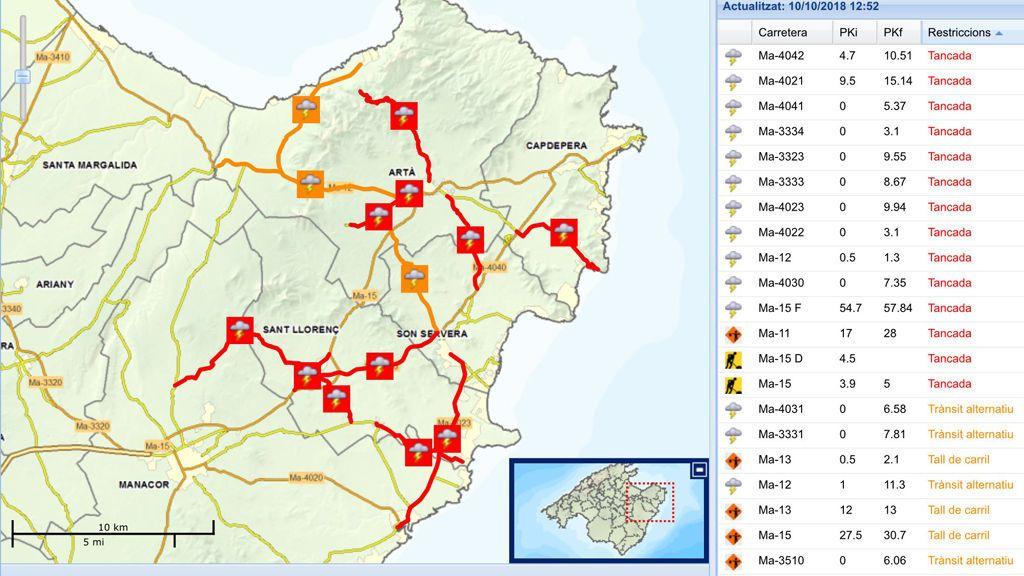 Once carreteras cortadas y dos puentes dañados tras las lluvias torrenciales en Mallorca