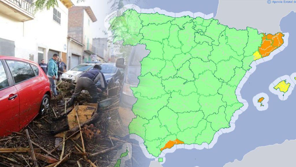 Precaución en Baleares, Málaga y Cataluña: avisos naranjas por lluvias torrenciales