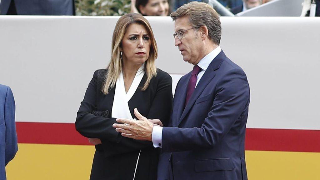 Díaz y Feijóo, con gestos serios
