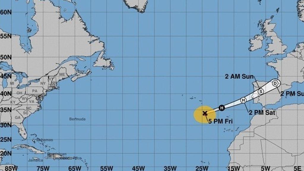 Leslie llegará a la península ibérica con fuertes vientos y lluvias