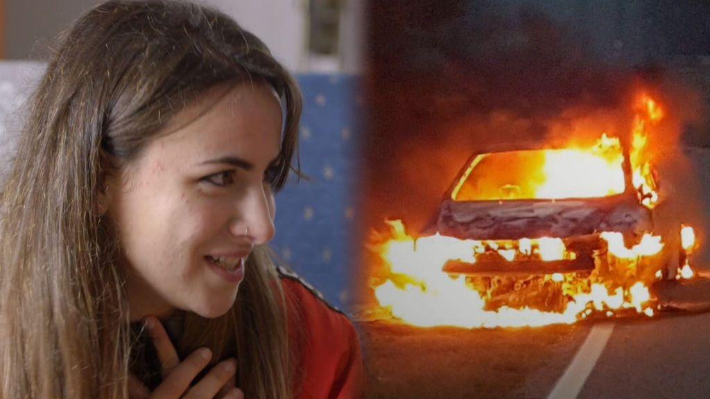 Eva se emociona al recordar cómo consiguió escapar de su coche ardiendo