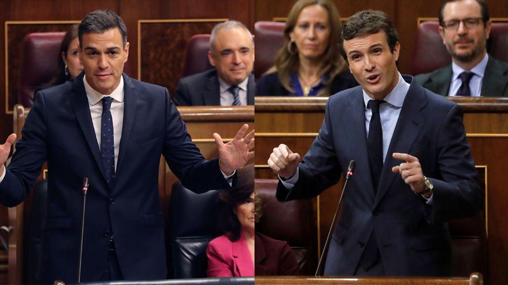 """Casado y Rivera """"on fire"""": ofensiva dialéctica de la oposición contra los Presupuestos de Sánchez"""