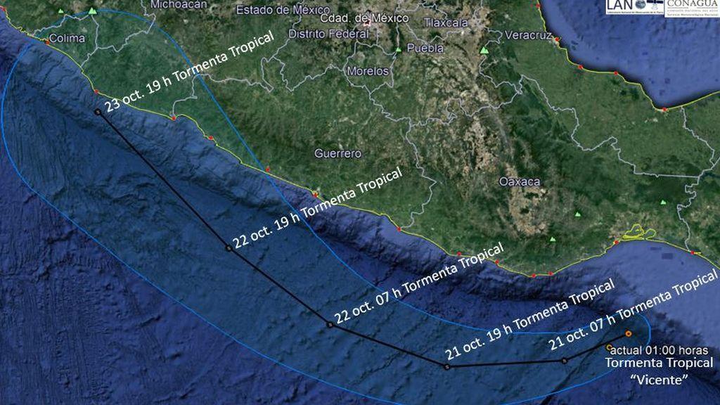 Vicente se extiende rápido: la tormenta tropical se dirige hacia el oeste de México
