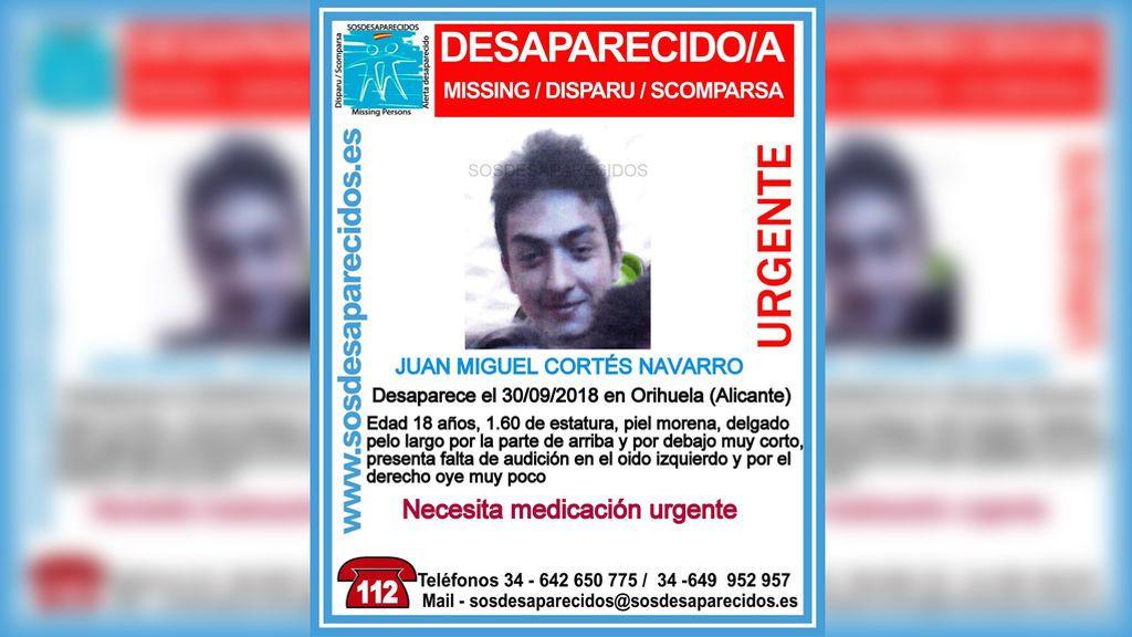 Buscan a Juan Miguel Cortés, desaparecido en Orihuela desde el 30 de septiembre