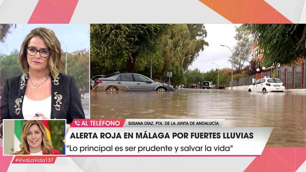 """Susana Díaz, de las inundaciones en Málaga: """"Hagamos caso de las recomendaciones, ellos se juegan la vida por nosotros"""""""