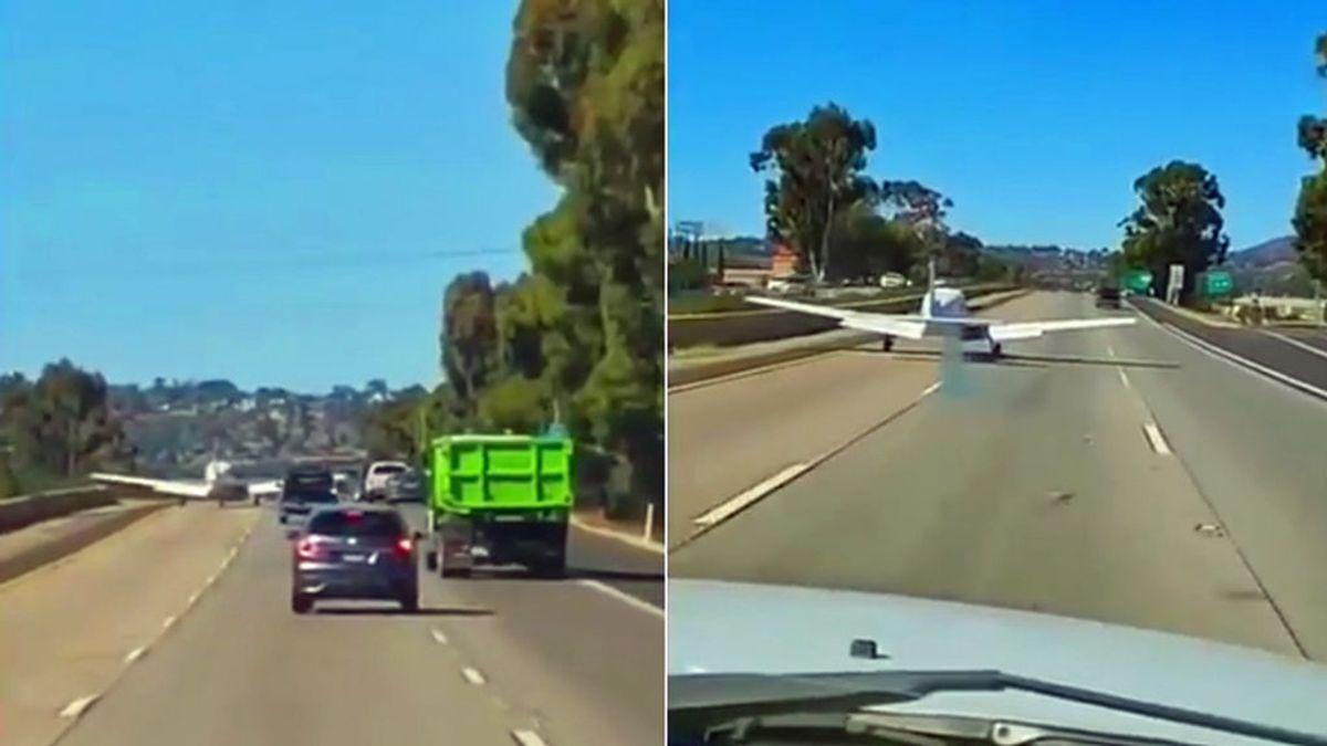 El increíble aterrizaje de emergencia de una avioneta en una autopista repleta de coches en California