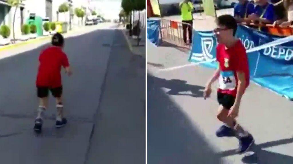 Super Celu, amigo de Marc Márquez que sufre una enfermedad que le afecta a las articulaciones, corre una carrera sin su andador