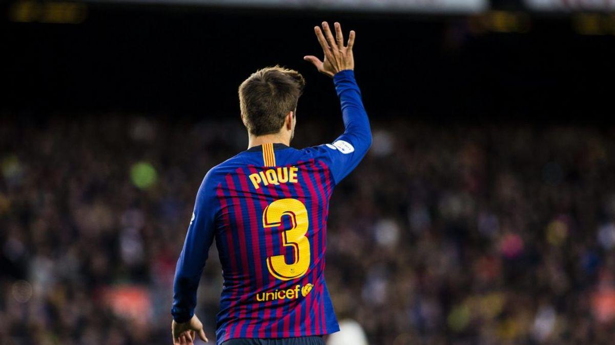 Piqué repite su famosa celebración de la 'manita' en el Clásico
