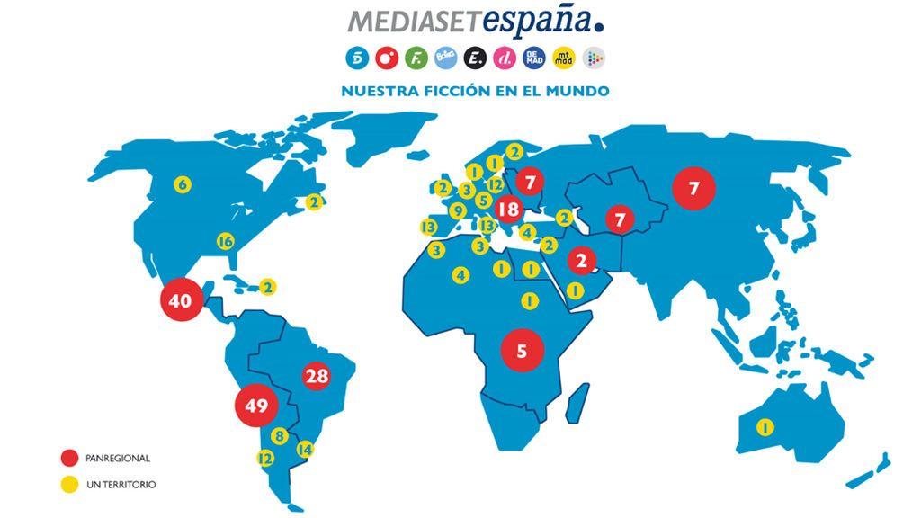 Mapa de distribución de la ficción de Mediaset España en el mundo.