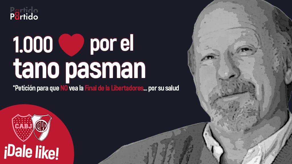 Pedimos mil corazones por el 'Tano' Pasman después de conocerse que el riesgo de infarto se triplicará en la final Boca-River