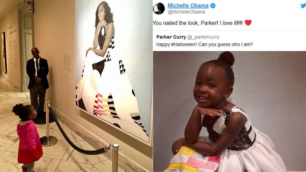 Fan de 2 años de Michelle Obama, se viste como ella en Halloween
