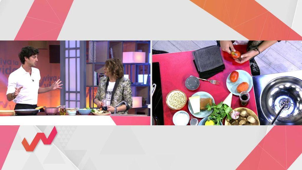 Temporada De Setas: Jorge Brazález Las Cocina Al Ajillo Con Salmorejo,  Pesto Y Huevo Poché