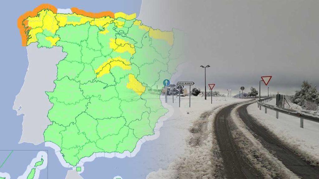 Avisos en 18 provincias por la nieve, lluvia, oleaje y viento que trae el 'tren de frentes'