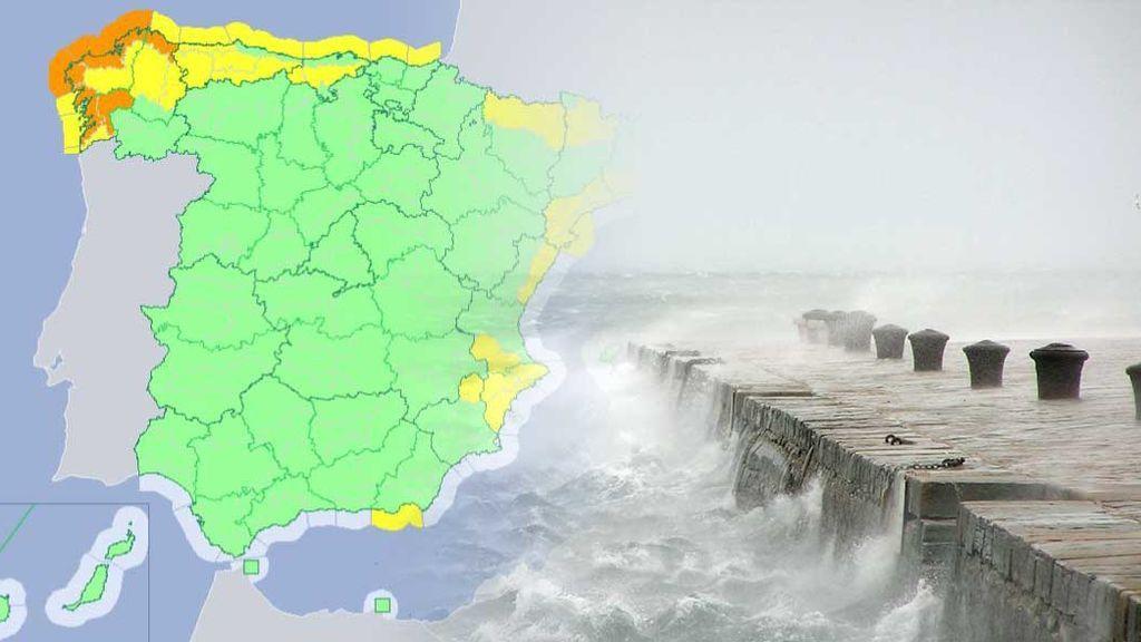 El frente atlántico deja avisos en 17 provincias por lluvia, viento y oleaje