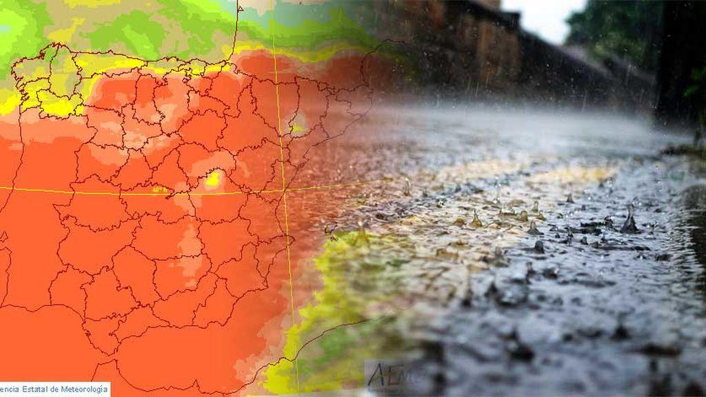 Mira el mapa: el color rojo es que llueve fijo el domingo