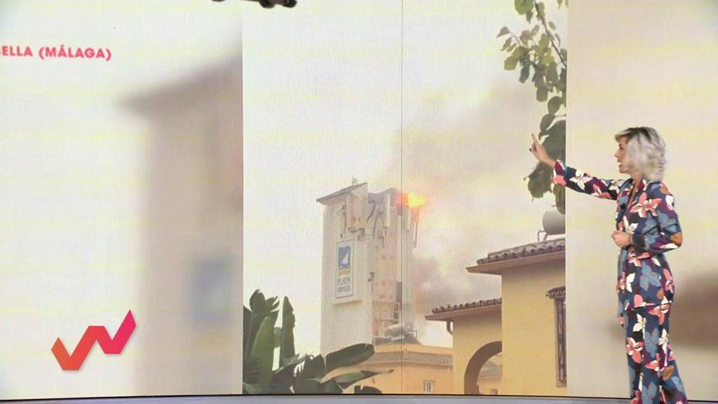 Tormentas que hacen estragos: Un rayo provoca un fuego en Marbella
