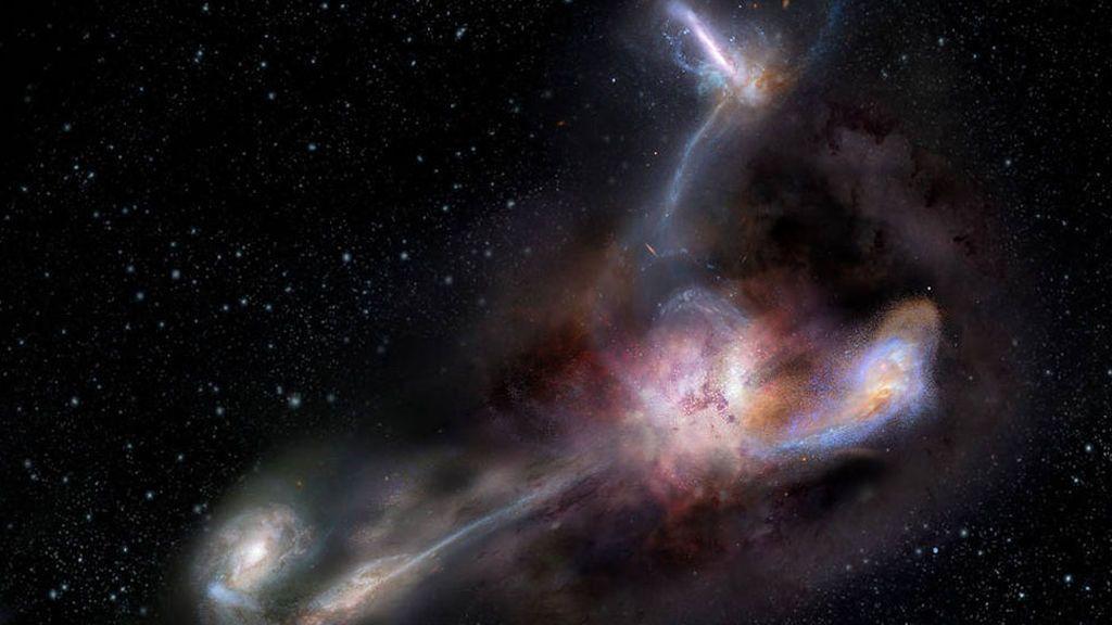 La galaxia más luminosa que canibaliza a sus vecinas