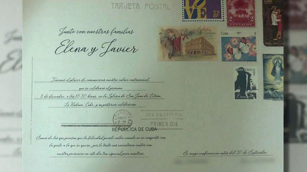 Primicia: Tenemos las invitaciones de boda de Elena Tablada y Javier Ungría