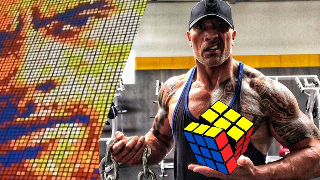 'Retrata' a The Rock con 725 cubos de Rubik y deja al actor flipando, literalmente