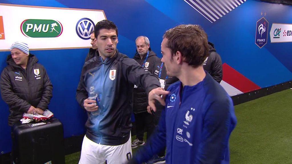 La cariñosa conversación entre Griezmann y Suárez en el túnel de vestuarios