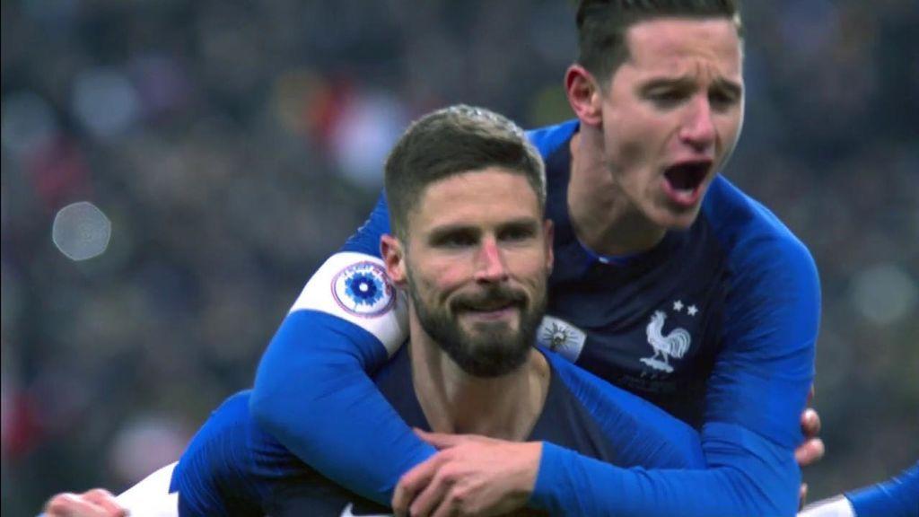 ¡Gol de Giroud! Griezmann le deja tirar el penalti para poner el 1-0 ante Uruguay