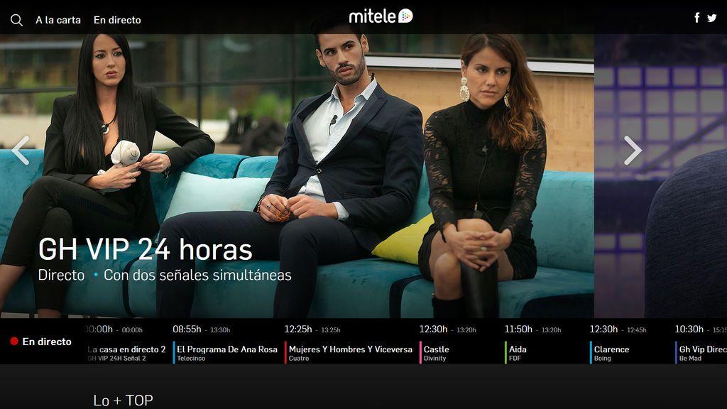 Mitele en su versión para ordenador, donde se puede disfrutar de todos los contenidos de Mediaset España.