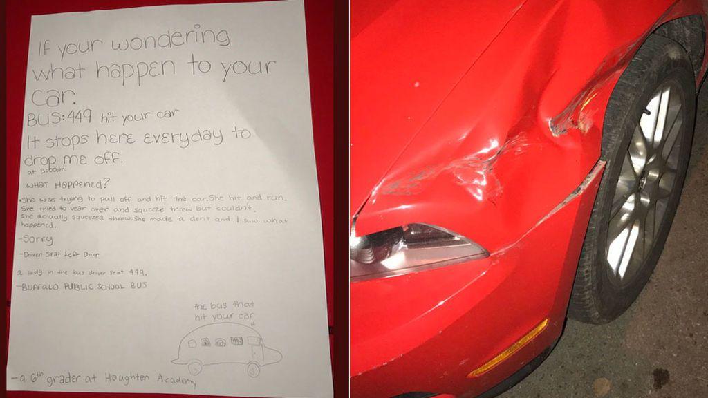 Encuentra su coche abollado, pero la carta de una niña dejada en el capó le cuenta lo que ocurrió