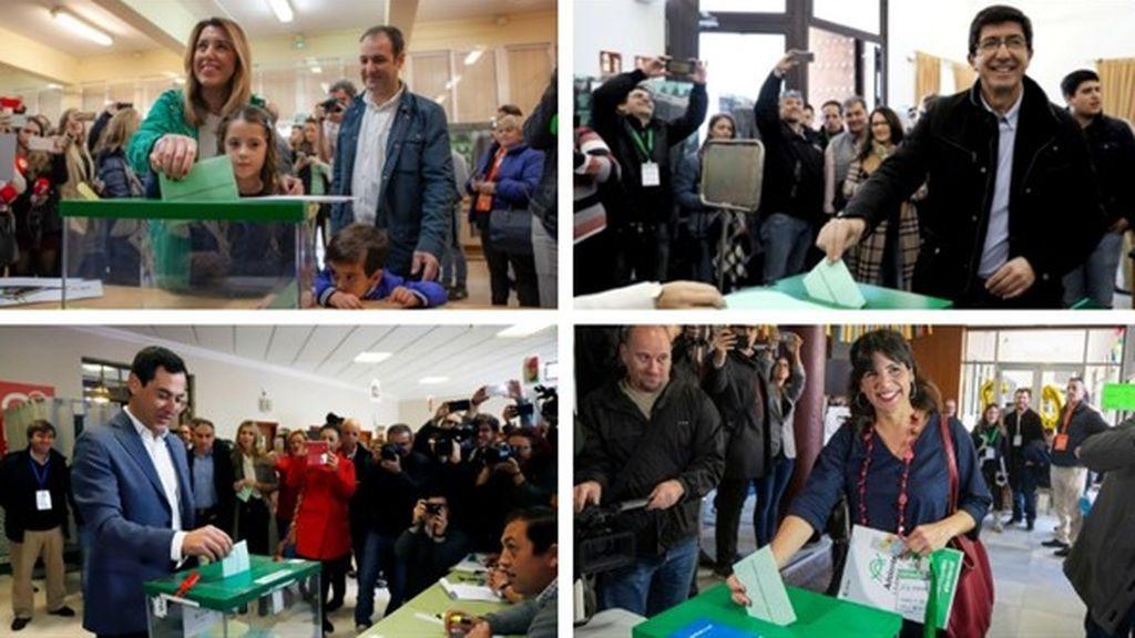 """Los candidatos de las elecciones de Andalucía llaman a la """"participación masiva"""" tras votar"""