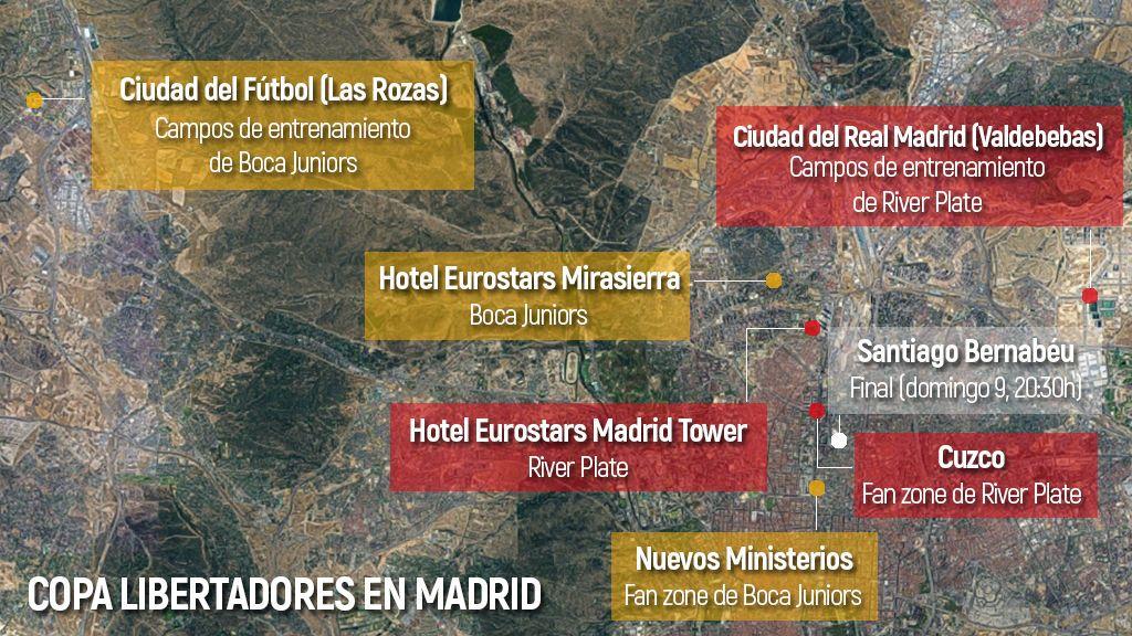 Hoteles, entrenamientos… El mapa de los 'puntos calientes' de Madrid para la Libertadores entre River y Boca