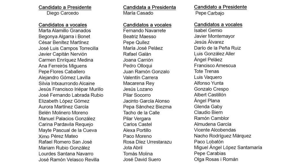 Candidatos a la presidencia de la Academia de las Ciencias y las Artes de Televisión.