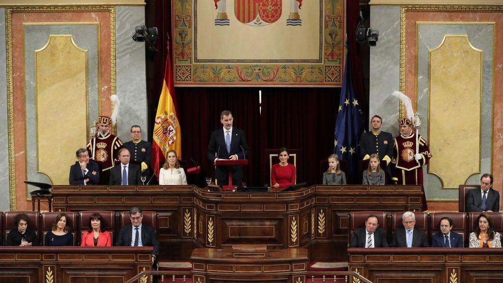 La Familia Real, ovacionada  en la ceremonia del 40 aniversario de la Constitución