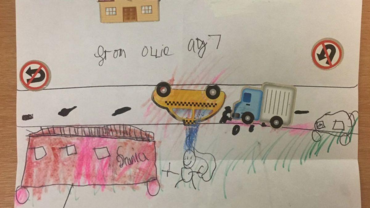 Con 7 años, agradece a los bomberos con un emotivo dibujo que le rescataran tras un accidente de tráfico