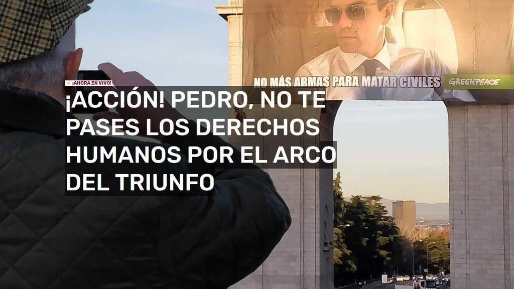 Pedro Sánchez, en el punto de mira de Greenpeace en el Día Internacional de los Derechos Humanos